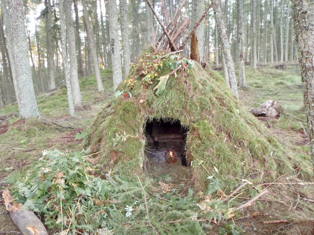 Bushcraft Survival Australia - Natural Shelter with Moss in Scotland